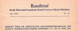 Schulgeschichte: Rundbrief Juli 1954
